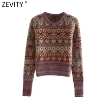 Zevity New Women Vintage O Neck Flower Print Jacquard Knitting Sweater Ladies Chic Long Sleeve Casual Retro Pullovers Tops S534