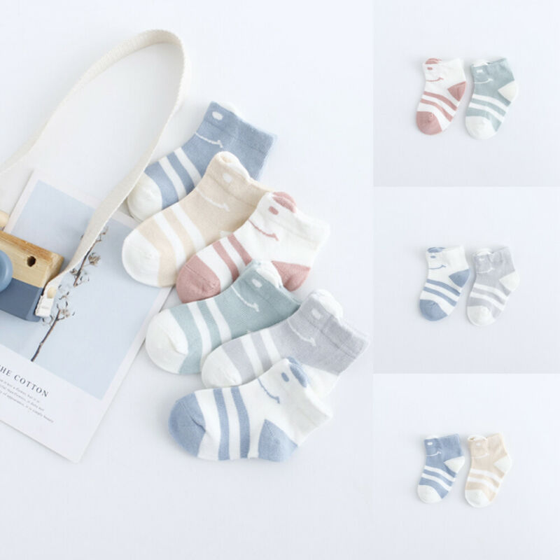2020 New 2 Pairs Kid Casual Baby Sport Socks Cotton Striped Multi-Color Soft Seamless Toe Socks