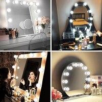 Яркость Регулируемый usb-разъем 5V безопасности зеркало Голливуда лампы светильник довольно тщеславия туалетный столик для макияжа лампы 2/6/...