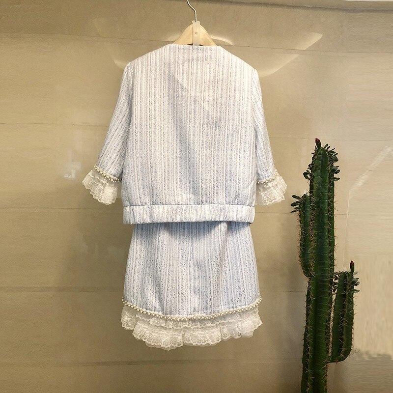 Spring Summer Fashion Beading Lace Short Jacket & Skirt Set 2020 Elegant Runway Pink Blue Zip Coat & Short Skirt Two Piece Set