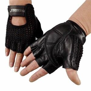Image 4 - 2018 De Nieuwste Lederen Half Vinger Mesh Ademende Handschoenen Koeienhuid + Gebreide Handschoenen Unisex A149 5