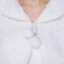 Womens Lady Faux Fur Long Sleeve Shawl Wrap Lapel Collar Pompom Ball Lace Up White Shrug Cape Pashmina Bridal Wedding Party Coat