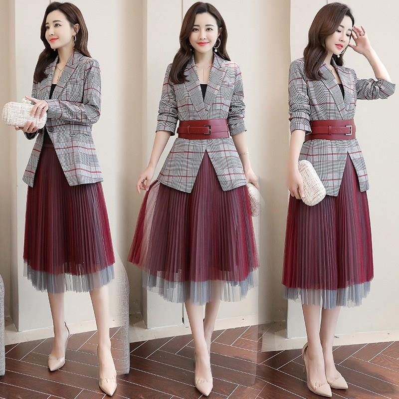 2019 Women Plaid Blazer Mesh Pleated Skirt Suit Office Wear Formal Blazer Jacket Women Formal 2 Piece Set
