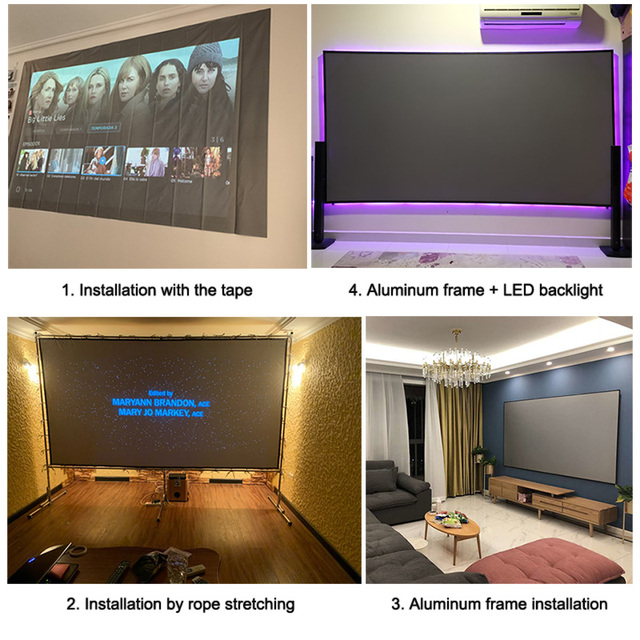 Yovanxer Projector Screen 72 84 100 120 130 133 inch Reflective Fabric for XGIMI Xiaomi JMGO mini Projectors Enhance Brightness 3