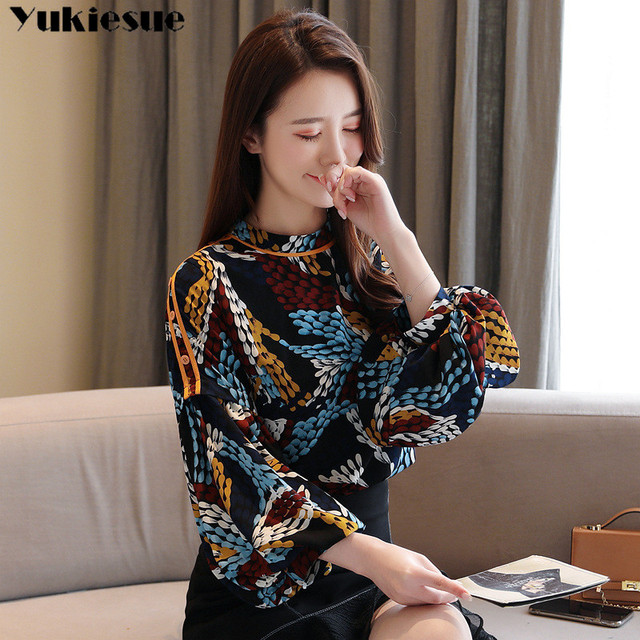 2020 summer long sleeve women's shirt blouse for women blusas womens tops and blouses printed shirts ladie's top plus size 4