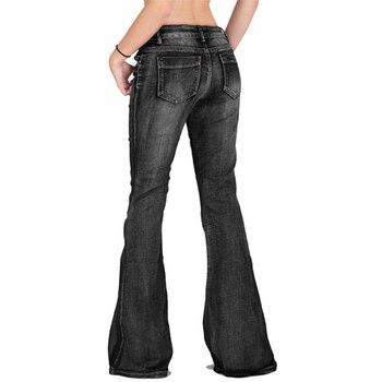 2019 Fashion Denim Flare Pants Women Retro Jeans Wide Leg Trousers Lady Casual Bell-Bottoms Flare Pant Female XS-4XL 1