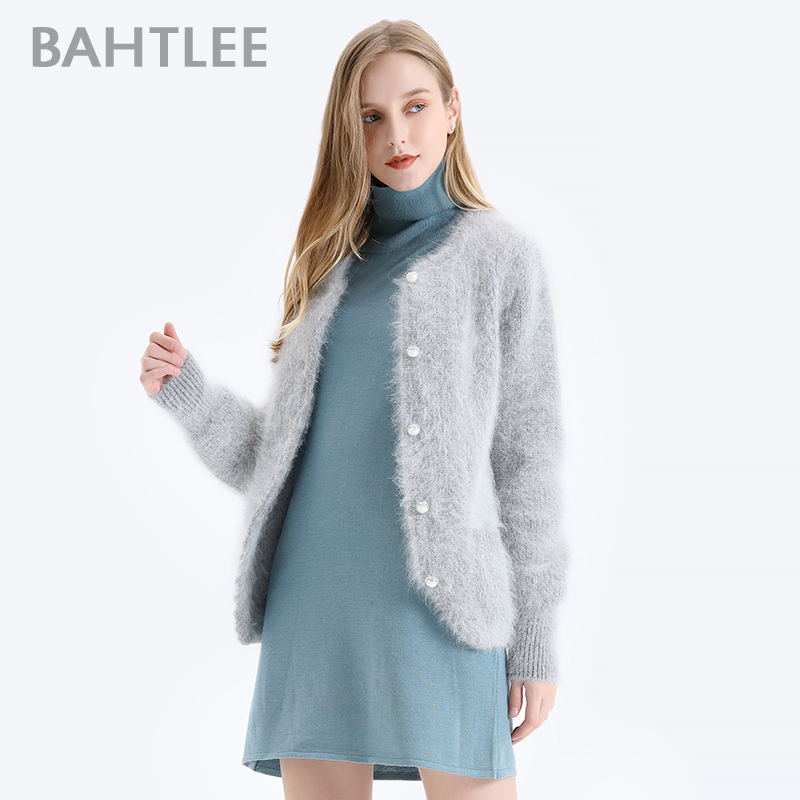 BAHTLEE Women Angora Short Cardigans Sweater Autumn Winter Wool Knitted Coat Jumper Long Sleeves O-Neck Pearl Buckle