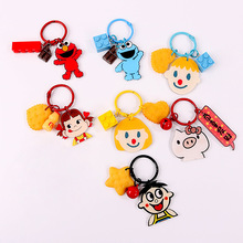 Cartoon Lovely Sesame Street Keychains Doll Figurine Key Chain Couples Small Bag PVC Soft Glue Texture Keyrings