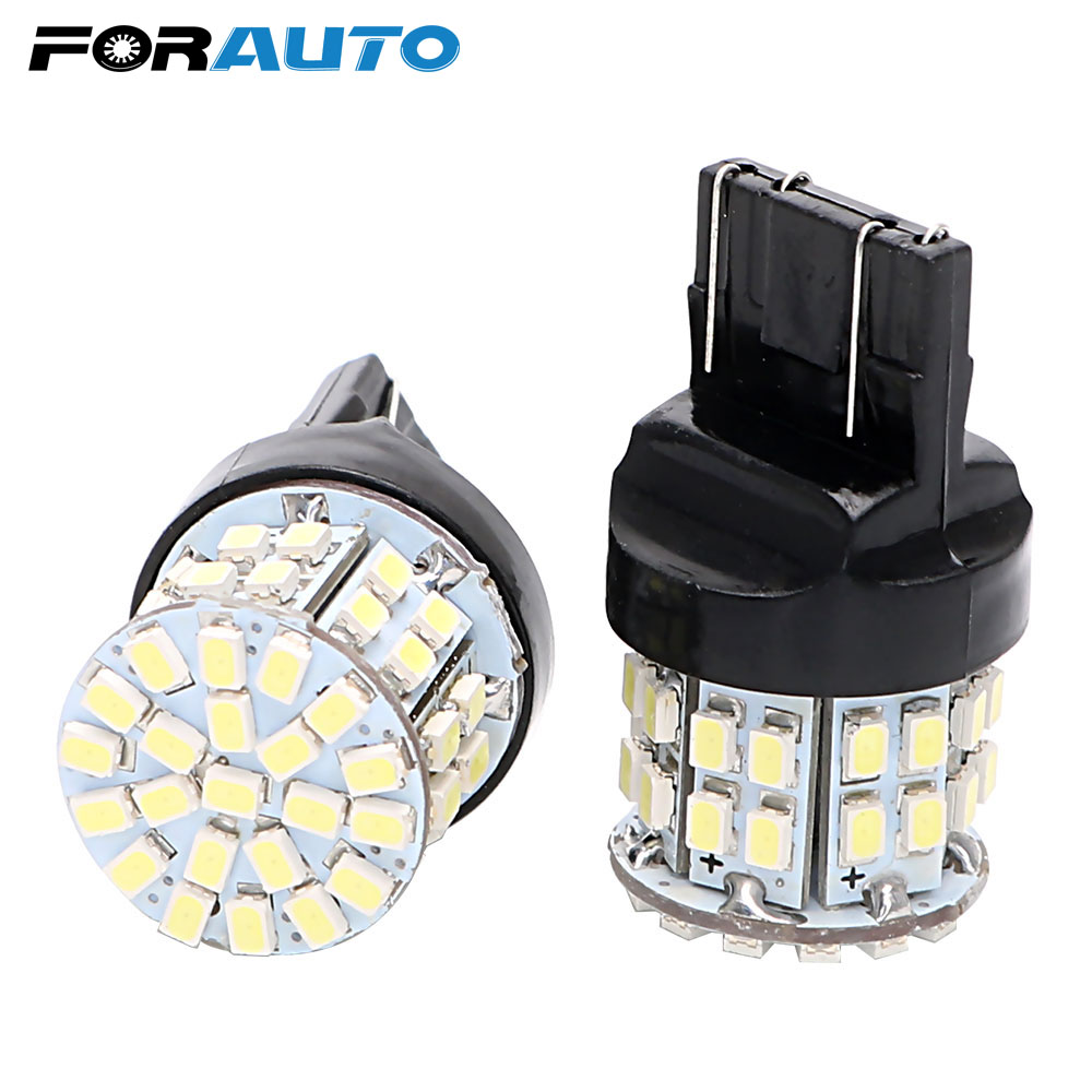 FORAUTO 2pcs T20 7443 Car LED Brake Light Stop Rear Bulb Backup Reserve Lights W21/5W 50 SMD Canbus Auto Turn Signal Lamp image