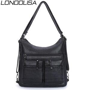 Image 1 - Kadın yıkanmış PU deri seyahat sırt çantası kadın sırt çantası okul omuz el çantaları kadınlar için 2020 sırt çantası Mochilas ana kesesi