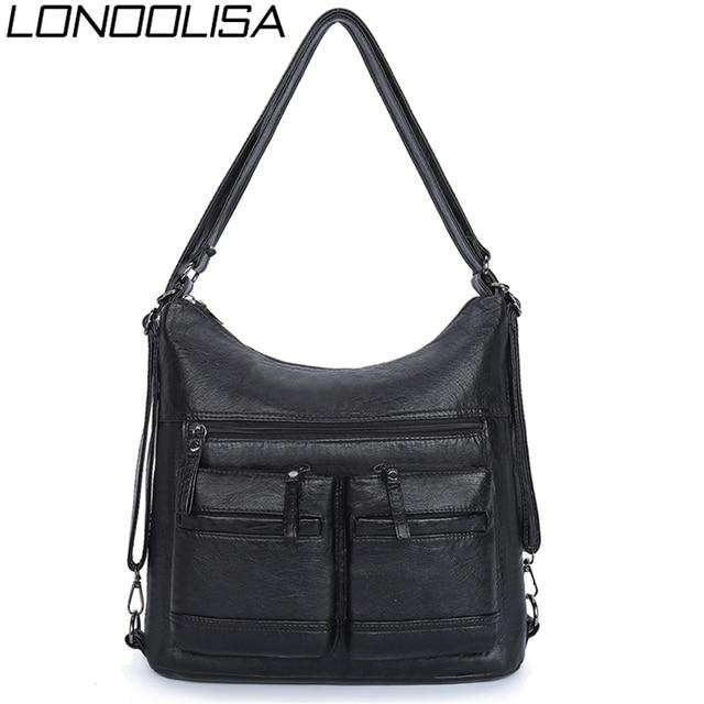 Kadın yıkanmış PU deri seyahat sırt çantası kadın sırt çantası okul omuz el çantaları kadınlar için 2020 sırt çantası Mochilas ana kesesi