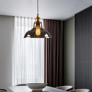 Image 3 - Luzes pingente de vidro do vintage lâmpada loft nordic pendurar lâmpada 28cm cinza fumado industrial sala jantar quarto cozinha e27