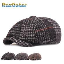 RoxCober зимние шапки, теплые шерстяные утолщенные кепки Newsboy для мужчин, винтажные Восьмиугольные шляпы детектива художника, шапки в стиле ретро, плоские шапки 399