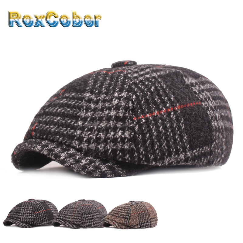 RoxCober Winter Hats Warm Wool Thicken Newsboy Caps For Mens Vintage Octagonal Hat Detective Painter Hats Retro Flat Caps 399