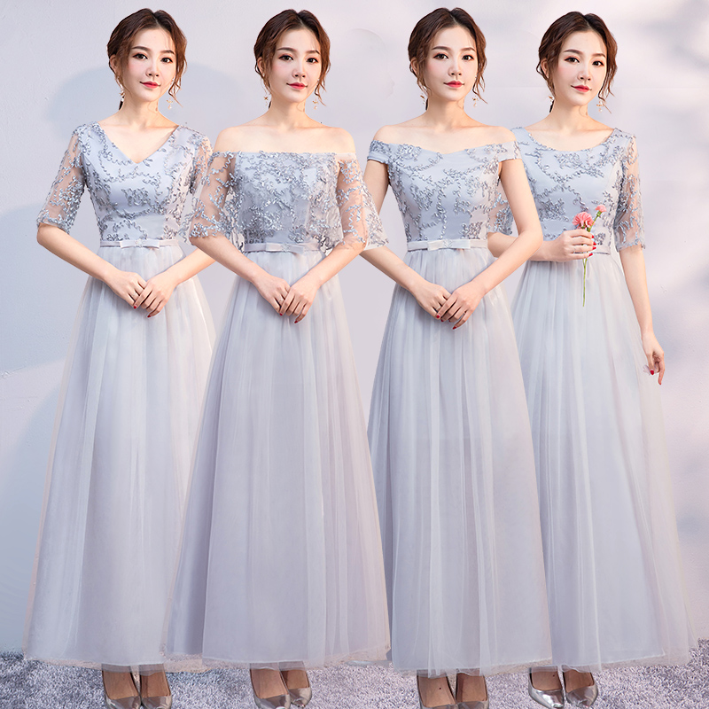 Vintage Gray Bridesmaid Long Dress For Wedding Party Elegant Woman V-neck Tulle Embroidery Vestido Azul Marino Sexy Prom Dress