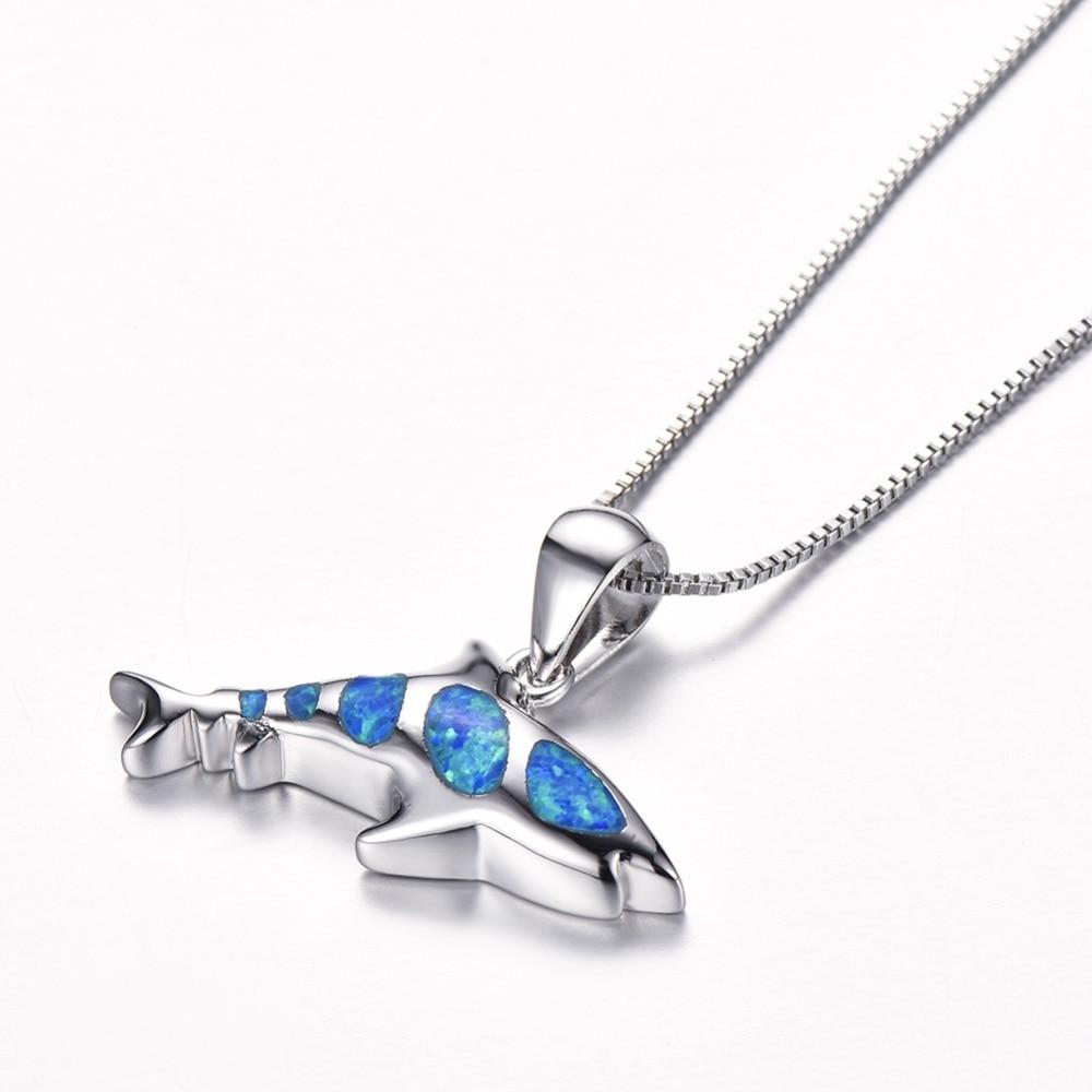 Blauer Opal Shark Haifisch mit Halskette Geschenk 04