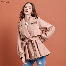 ARTKA 2019 Winter New Women Woolen Coat Vintage Lantern Sleeve Woolen Outwear Turn-down Collar Woolen Coat With Belt FA10292D cheap Acrylic Polyester REGULAR 62 9 acrylic fiber 37 1 polyester fiber Wide-waisted Pockets Sashes Wool Blends Solid Covered Button