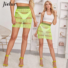 Jielur See-Through Rok Neon Renda Wanita Musim Panas Colorblock Pita Elastis Pinggang Seksi Rok Paket Hip Rok CHIC Pesta(China)