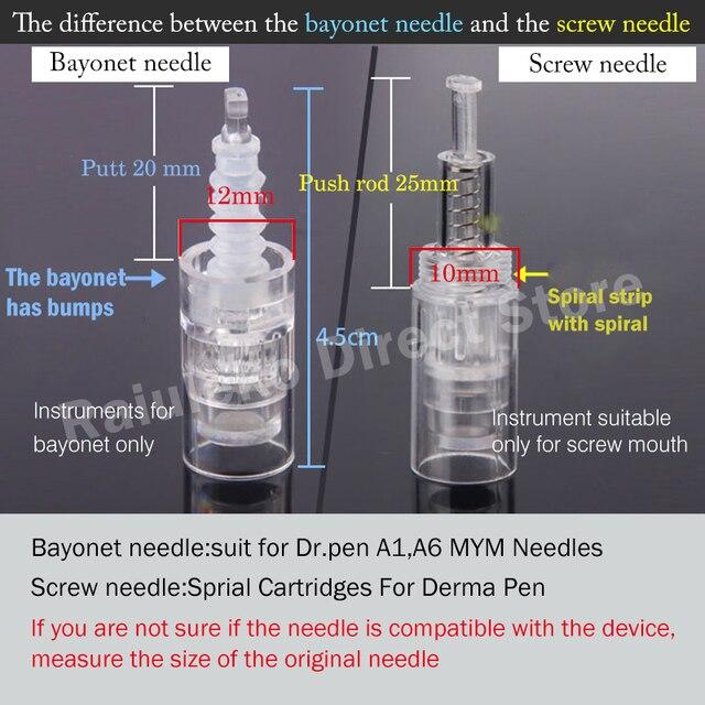 10/20/50pcs Tattoo Pen Nano MYM Needles Tip Microneedling 9 Pin/12 Pin/36 Pin/3D/5D Bayonet Screw Port Cartridge Tattoo Needles 2