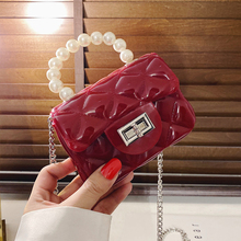 2020 Fashion Pearl Chain Lipstick Tote Handbag Geometric Plaid Crossbody Mini PVC Jelly Feminine Handmade Flap Shoulder Bags