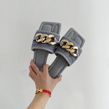 ZA Summer Female Slippers Metal Chain Square Toe Slip-on Slides Flat Casual Shoes Women Beach Slippers Open Toe One-strap Shoes