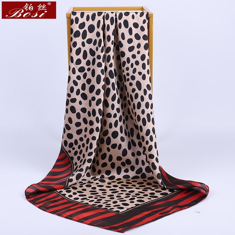BOSI Fashion Silk Dot Print Square Satin Big 90*90cm Hijab Chain Scarf For Women Leopard Print Luxury Brand Red Shawl Scarves