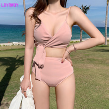 2019 sexy new solid color high waist split swimsuit ladies Korea holiday hot spring bikini Wire Free