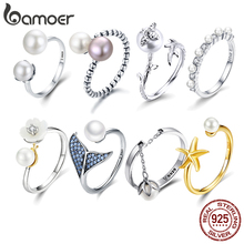 BAMOER Creative Double Pearl Finger Ring Fish Tail for Women Adjustable Size fit 5 6 7 8 9 Authentic Sterling Silver 925 Jewelry