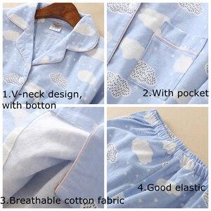 Image 5 - JULYS SONG kobieta bawełna drukowanie piżamy długie rękawy damskie spodnie piżamy zestaw dorywczo duży rozmiar miękki piżamy garnitur