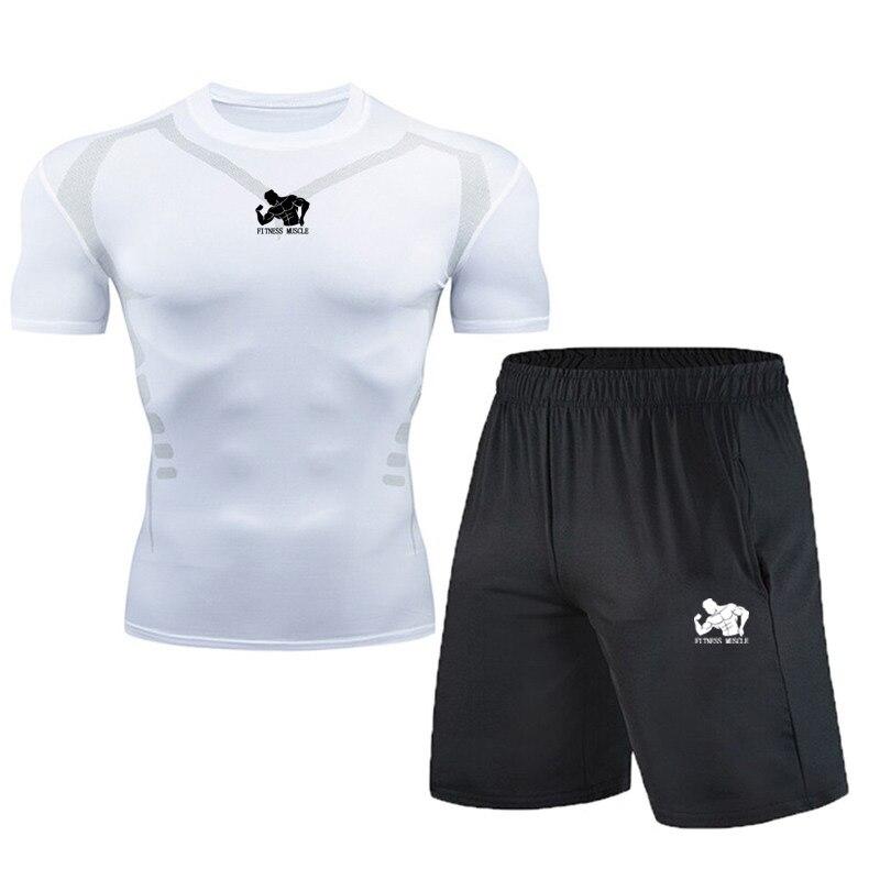 Compression Set Men New 2020 Summer Running Tight Quick Dry Fitness Tshirt Leggings Gym Sport Sets Running Short Sleeve Set