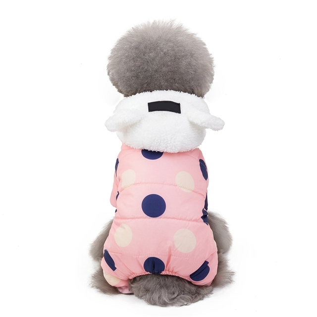 Pet Dog Clothes Winter Dog Hoodie Jumpsuit Small Dog Dot Printed Jacket Clothes Cute Fleece Ear Design Cotton-padded Coat 5