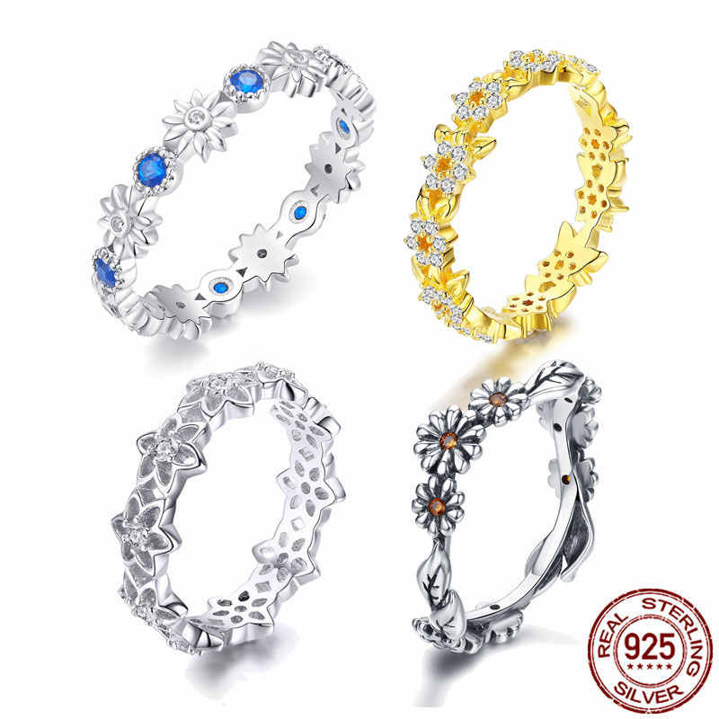 Sale BISAER Wholesale 925 Sterling Silver Daisy Flower Finger Rings for Women Fashion Wedding Jewelry cheap Ring Jewelry WER7220