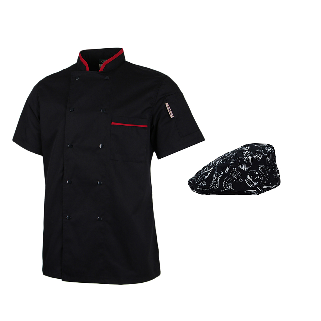 Women's Men's Short Sleeve Chef Jacket Baker Jacket Chef's Clothing With Gastronomy Chef's Hat Bistro Hat Uniform With Pocket