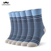 Uomini calze di cotone stripped uomo di grandi dimensioni calzini 6 paia/lotto FORMATO del REGNO UNITO 7 11 EUR FORMATO 40 46 1002 VKMONY