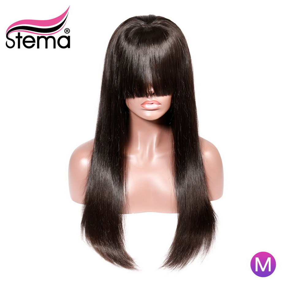 Stema Bang Wig Human Hair Remy 150 Density 13x4 Straight Lace Front Wigs With Bangs For Women Long 8-30 Inch Wig Bleached Knots
