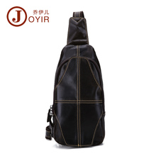 JOYIR Hot Sale Men Oil Wax First layer Cowhide Chest Sling Bag Tablet Design Genuine Leather One Shoulder Crossbody Male