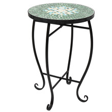Mosaic Stained Glass Green Surface Flower Stand US warehouse in stock (23 x 23 x 52)cm(China)