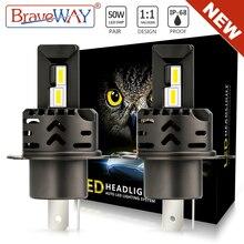 BraveWAY-NEW! 슈퍼 밝은 H4 LED 헤드 라이트 전구 H1 H7 LED 램프 HB3 HB4 9005 9006 H11 LED 안개 빛 12V 50W 3000K/6000K 16000LM