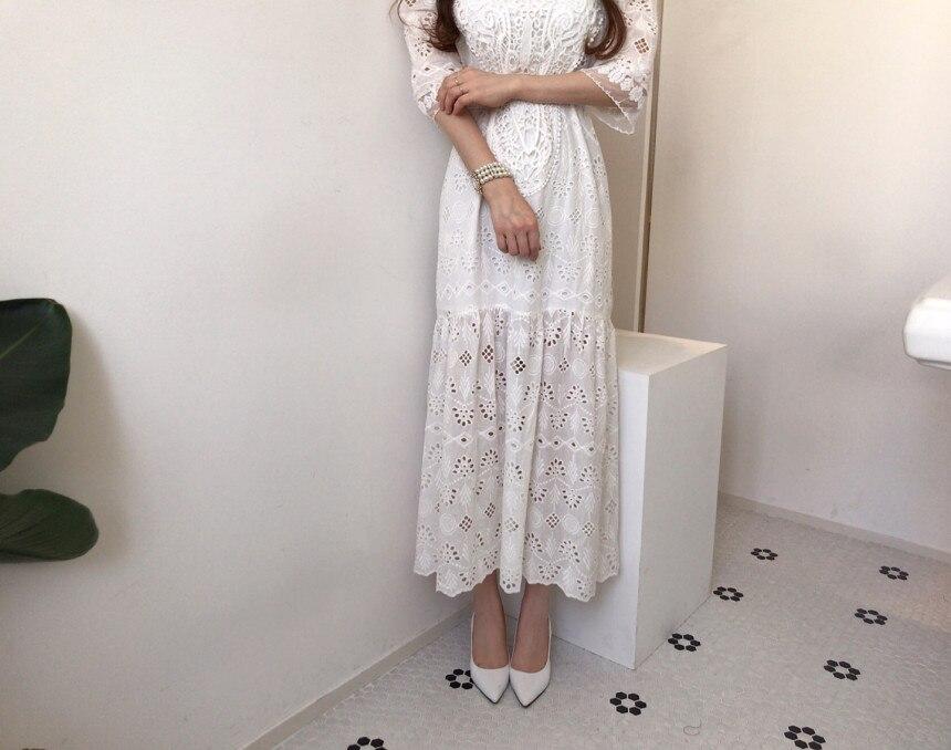 Hd5301f1cd1674ffca411e986161c8aa2T - Summer Korean O-Neck Half Sleeves High Waist Lace Hook Flowers Hollow Out Midi Dress