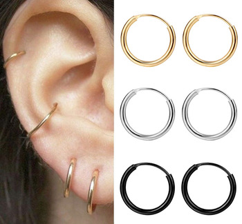 FNIO Fashion Women Girl Simple Round Circle Small Ear Stud Earring Punk Hip-hop Earrings Jewelry 3 Size image