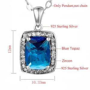 Image 4 - Австрийский Аквамариновый кулон Szjinao из камня, Модная бижутерия из настоящего стерлингового серебра 925 пробы, массивные ожерелья и подвески для женщин
