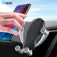 DCAE Wireless Car Charger Qi Automatic Clamping Air Vent Car Phone Holder 10W Fast Charging for iPhone 11 XS XR X 8 Samsung S10|Wireless Chargers| |  -