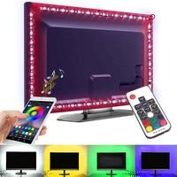 Tira de cinta Led RGB USB de 5V 5050 música Bluetooth 0,5 M 1M 2M 3M conjunto iluminación de fondo de TV cintas de luz Led con control remoto
