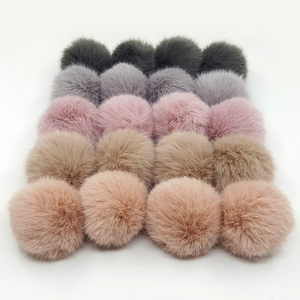 Lavida F21 4pcs 5cm Faux Mink Fur PomPoms Ball with Loops/DIY Shoes Clothing Hat Keychain Materials Accessories/Jewelry Findings
