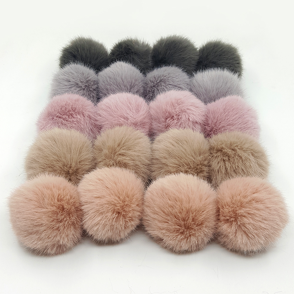 Lavida F21 4pcs 5cm Faux Mink Fur PomPoms Ball with Loops/<font><b>DIY</b></font> Shoes Clothing Hat Keychain Materials Accessories/Jewelry Findings image