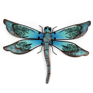 Metal Dragonfly Wall Artwork for Garden Decoration Miniaturas Animal Outdoor Statues and Sculptures for Yard Decoration(China)