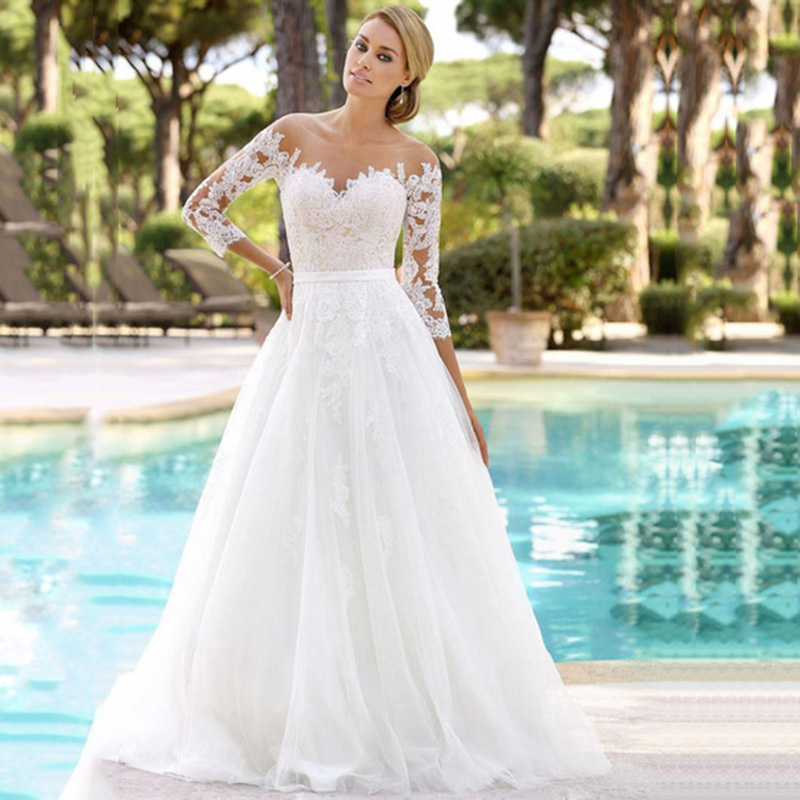 Wedding Dress 2019 New Elegant Short Sleeves V Neckline Chiffon Vintage Wedding Dresses With Lace  Bridal Dresses Gelinlik