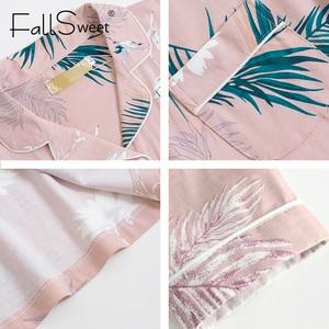 Image 5 - FallSweet Conjuntos de pijamas de tamaño grande para mujer, pijama de manga larga con estampado, pijama sensual, 4XL
