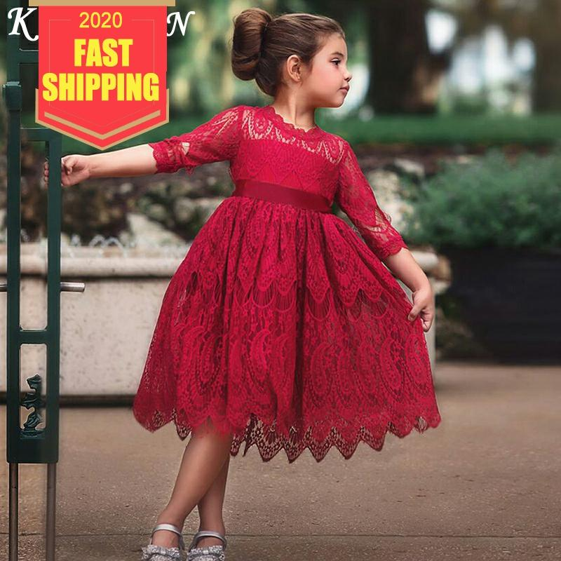 Keelorn Baby Girls Dress Spring Children Dresses Girl Clothes Lace Solid Party Dress Kids Princess Dress Fashion Baby Clothing