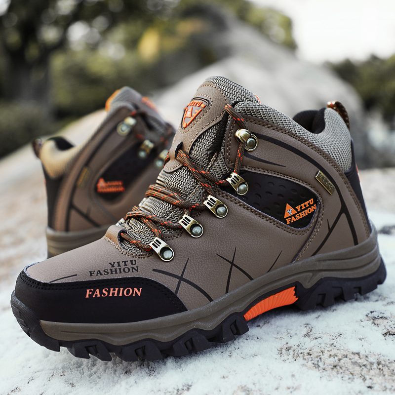 Image 4 - Brand Men Winter Snow Boots Plush Warm Men Snow Boots High Quality Waterproof Leather Sneakers Outdoor Male Hiking Boots 39 47-in Snow Boots from Shoes